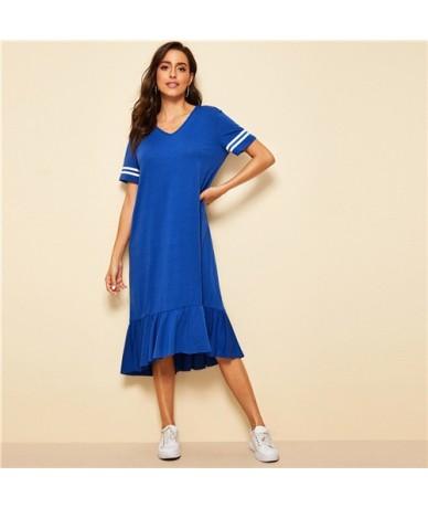Blue Striped Sleeve Ruffle Hem Tee Dress for Women 2019 Summer Athleisure V Neck Midi Dresses Loose Casual Dress - Blue - 4F...