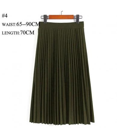 Pleated Skirt Summer Autumn Fashion High Waist Solid Color Mid-Calf Skirt All-match Swing Elastic Waist Midi Skirt - Army Gr...