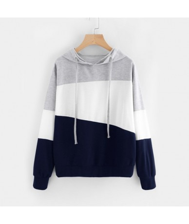 Cut And Sew Patchwork Hoodie Women Color Block Long Sleeve Exercise Pullovers Sweatshirts Casual School Sweatshirts - Multi ...