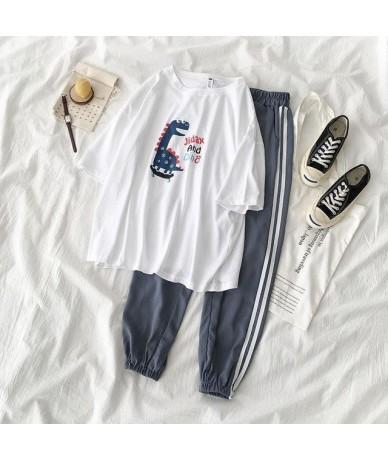 Women suits] 2019 Women's summer carton T shirt + Fashon sports pants - Army Green - 4U4112583439