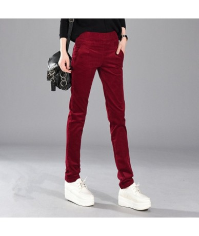 2019 Autumn Winter Corduroy Pants High Waist Long Trousers Women Plus Size Plus Velvet Casual Pencil Pants Pantalon Femme C3...