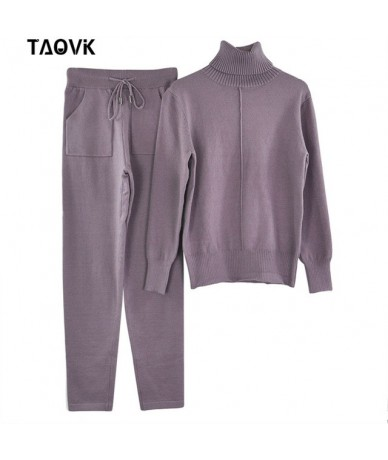 Women's knitted Suits Spring sweater set Mid Line Turtleneck Pullover Sweater Pants two pieces Sets warm Jogging Costumes - ...