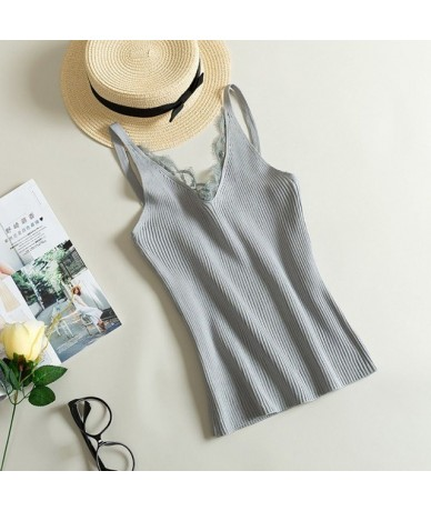 Women Hook Flower Lace Tank solid Stitching V-neck Camis Female Knitted Short Slim Sleeveless Shirt Tank Casual Tops - Gray ...