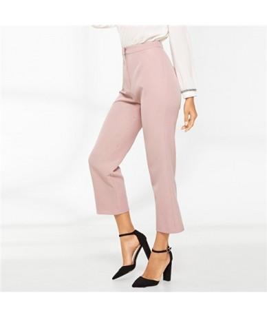 Pink Cropped Solid Tailored Straight Leg Zipper FlyPants 2019 Spring Women Modern Lady Elegant Spring Plain Pants - Pink - 4...