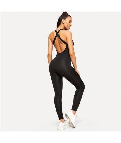 Crisscross Back Scoop Neck Solid Skinny Jumpsuit Sexy Bodycon Jumpsuit Activewear Women Fitness Black Overalls - Black - 4V3...