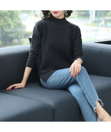 turtleneck sweater 2018 Autumn Winter Women Sweaters And Pullovers basis Thick Knit Sweater Pull Femme Loose Jumper - Black ...