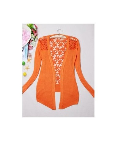 New Style 2018 Summer Autumn Jackets Girl Women's Lace Sweet Candy Color Crochet Knit Blouse Sweater Cardigan Outerwear - Or...