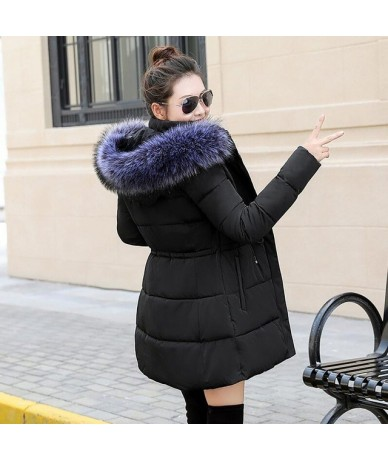 2019 trends winter jacket women long coat down cotton coat quilted female fur hooded parka outdoor snow jacket basic jacket ...