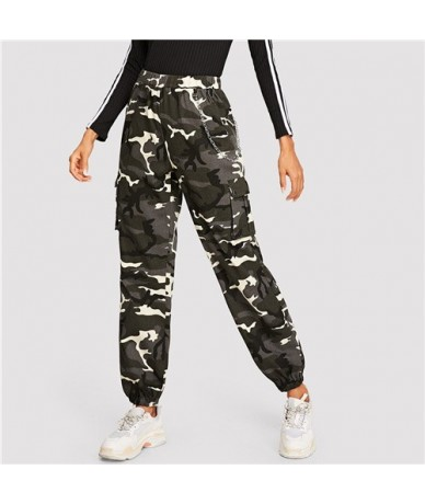 Flap Pocket Side Camouflage Lantern Pants Streetwear Women Tapered Pants 2019 Spring Chain Detail Casual Trousers - Multi - ...