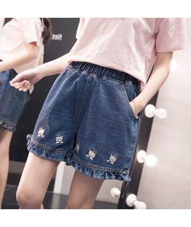S-5XL Harajuku Fashion High Waist Women Denim Shorts Cute Cartoon Embroidery Student Denim Shorts Cute Hello Kitty Girls Sho...