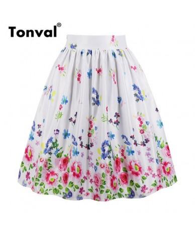 Multicolor Floral Print Skirt White Pleated Skirts Women Pockets Vintage Midi 2019 Plus Size High Waist Summer Skirt - littl...