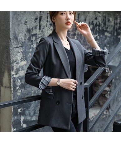 Bouble Breasted Solid Women Blazer With Pockets Female Coat Fashion blazers Outerwear high quality Jackets 5XL - Dark Gray B...