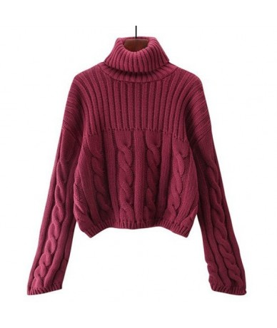 Women Pullovers Sweater New 2019 Knitting Autumn Winter Thick Warm Turtleneck Elegant Casual Ladies Female Tops SW799 - wine...