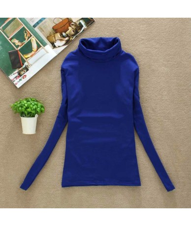 2019 High Quality Fashion Spring Autumn Winter Sweater Women Wool Turtleneck Pullovers Fashion Women's Solid Sweaters - Blue...