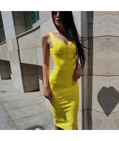 2019 New Woman Bandage Dress Yellow White Red Blue NudeBackless Club Dress Sexy Celebrity Bodycon Club Party Dress Vestido -...