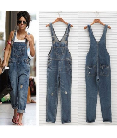 High Waist Women Jeans With Pocket Vintage Loose Overalls Jeans Casual Plus Size Ripped Jeans straps suspenders Pants - Blue...