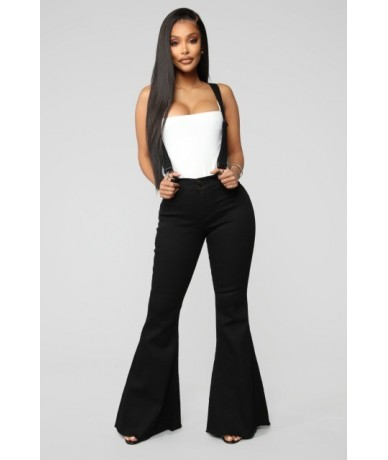 Black Jeans Women Plus Size High Waist Jeans with Shoulders Straps Casual Overalls Women Bell Bottom Jeans White Blue - Blac...