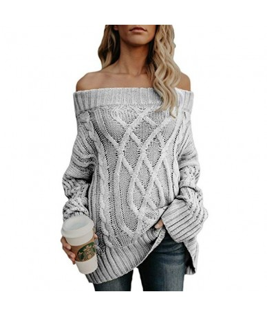 Thick Warm Sweaters 2019 Autumn Winter New Sexy Slash neck Knitted Pullovers Off Shoulder Solid Casual Knitting Lady Sweater...