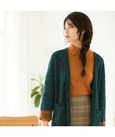 new autumn art style sweaters loose casual cardigan women's long style - Dark Green - 4P3020860741-3