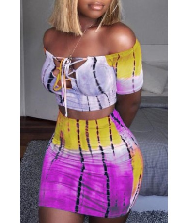 Sexy Women Off Shoulder Bodycon T shirt Crop Tops Skirt Set Ladies Bandage Mini Clothes 2pcs Set - Pink - 4K3077947448-3