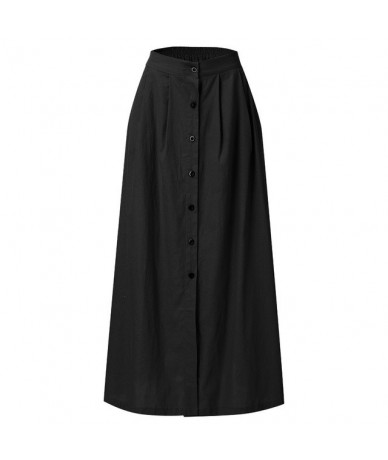 Autumn Skirts 2019 Women Fashion Summer Casual Solid Button Fork Opening Hollowing Out Split Daily Long Skirt jupe femme 41 ...