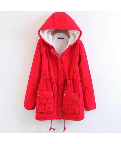 2018 Autumn Winter Long Hooded Coat Parkas Women Thick Cotton Padded Jacket Casual Plus Size Outwear Female - Red - 4F305893...
