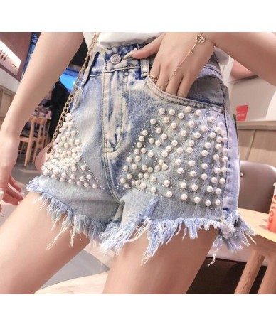 Blue High Waist Woman Denim Shorts With Beading Pearls 2019 Fashion Streetwear Ladies Jeans Shorts Burr Female Saias Jeans -...