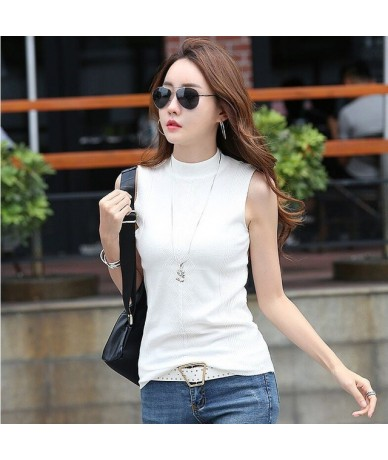 Summer Women Slim Knitting Embossing Tank Tops Female Knitted Camis Sleeveless Solid T shirts Tops - white - 453072790387-1