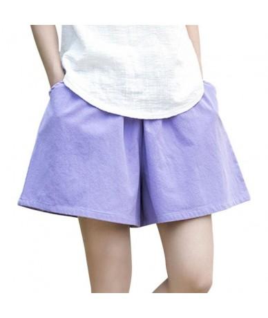 Fashion Women Cotton Linen Elastic Waist Shorts Solid Loose Casual Summer Short Pants JS26 - Light Purple - 5T111189848280-5