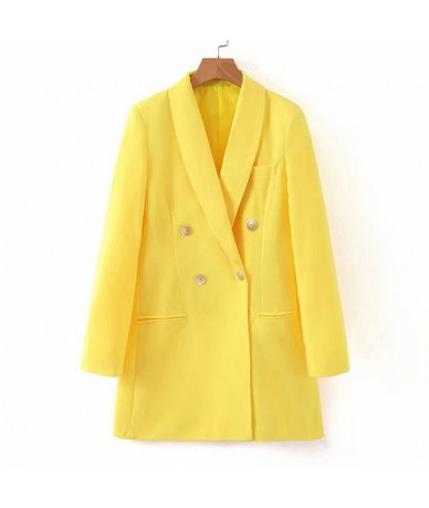 Fashion Lady Pure Yellow Blazer Suit Woman Casual Long Sleeve Jacket Autumn Winter Coats OL Work Out Blazers Tops 9902 - Yel...
