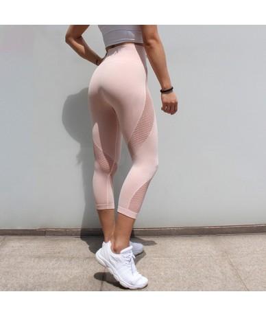 Patchwork Sexy Women Mesh Leggings Fashion Ladies Slim Pants Cropped Trousers High Waist Athleisure Fitness Leggings - Pink ...