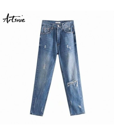 blue casual denim pants women high waist ripped harem pants mujer autumn 2019 streetwear boyfriend jeans hole pants - Blue -...