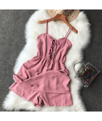 Lacing Up Sling Top Wide Leg High Waist Women's Vocation Playsuits Solid Color Adjustable Sling Ladies Casual Jumpers - Pink...