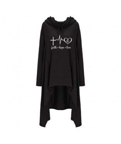 2018 New Fashion Faith Hope Love Print Tops Hoodies Women Sweatshirts Hoody Casual Long Sleeve Pattern Plus Size Female - Bl...
