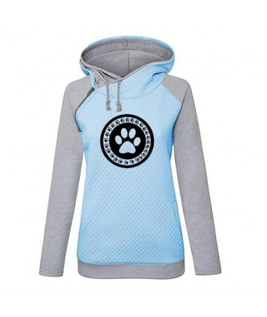 Hoodies For Women Dog Cat Paw Heart Letters Print Zipper Decoration Kawaii Tops Sweatshirts Hoodies Women Youth Harajuku Loo...