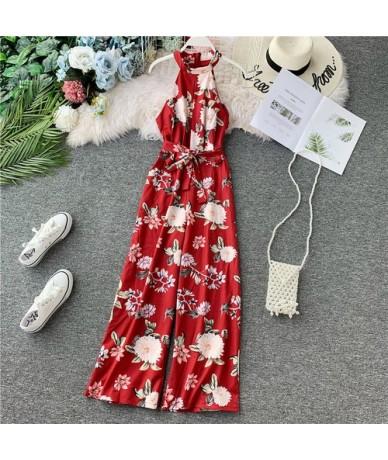 Women Jumpsuit 2019 Seaside Bohemian Flower Print Elegant High-waist Broad-legged Sleeveless Female Bodysuits - Red - 4V4171...