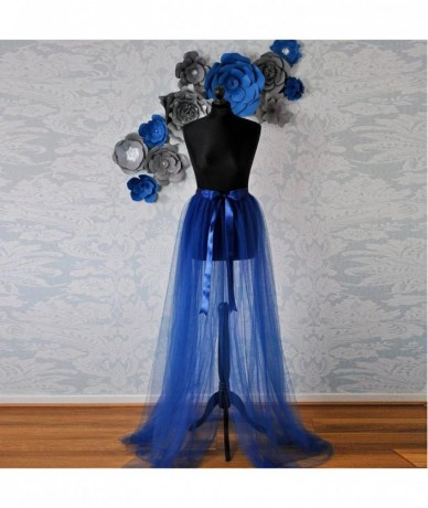 Real Image Royal Blue Tulle Detachable Train Ribbon Sash Bow See Thru Sexy Over Wrap Tulle Skirts Women Tutu Skirt - Army Gr...