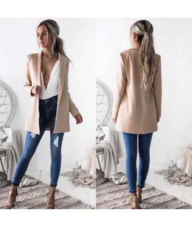 New Fashion Women Ladies Suit Coat Business Blazer Long Sleeve Outwears Office Lady's Long Blazers - Black - 4K3948199980-1
