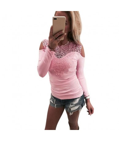 New Women Sexy Solid Lace Cold Shoulder Long Sleeve Slim Top Shirts Brief Womens Ladies Casua Shirt Tops - As picture shows ...