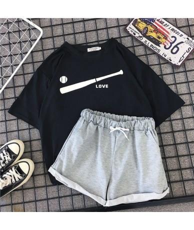 Summer Beach Style Women 2 Pieces Set Pink Letter Print T-shirt + Wide Leg Shorts Yellow Twinset 2XL Matching Set Tracksuit ...