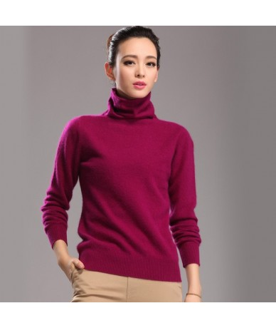 2018 new 100% pure mink cashmere sweater female high collar pullover women thick warm soft sweater hedging - Red wine - 3714...