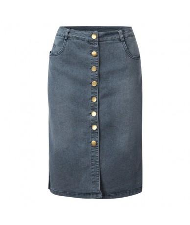 Denim Skirt High Waist Skirts New Women 2019 Summer Button Design Split Front Open Skirts Single Pencil Jean Shorts Style Je...