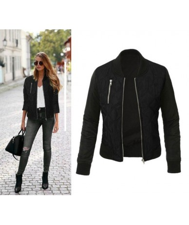 Autumn Winter Zipper Up jacket women Slim Patchwork Outwear chaqueta mujer Motorcycle jackets Plus Size coat ez* - black - 4...