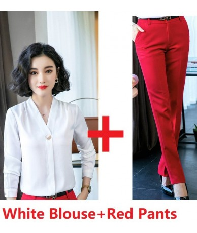 Formal Women Business Suits with 2 Piece Set Pants and Tops for Office Ladies Work Wear Blouses & Shirts OL Styles Pantsuits...