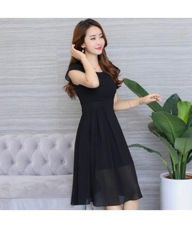 Women Chiffon Dress 2018 Spring summer round neck short sleeve Chiffon Dress Spring Femme Robe Feminino Vestidos - black - 4...