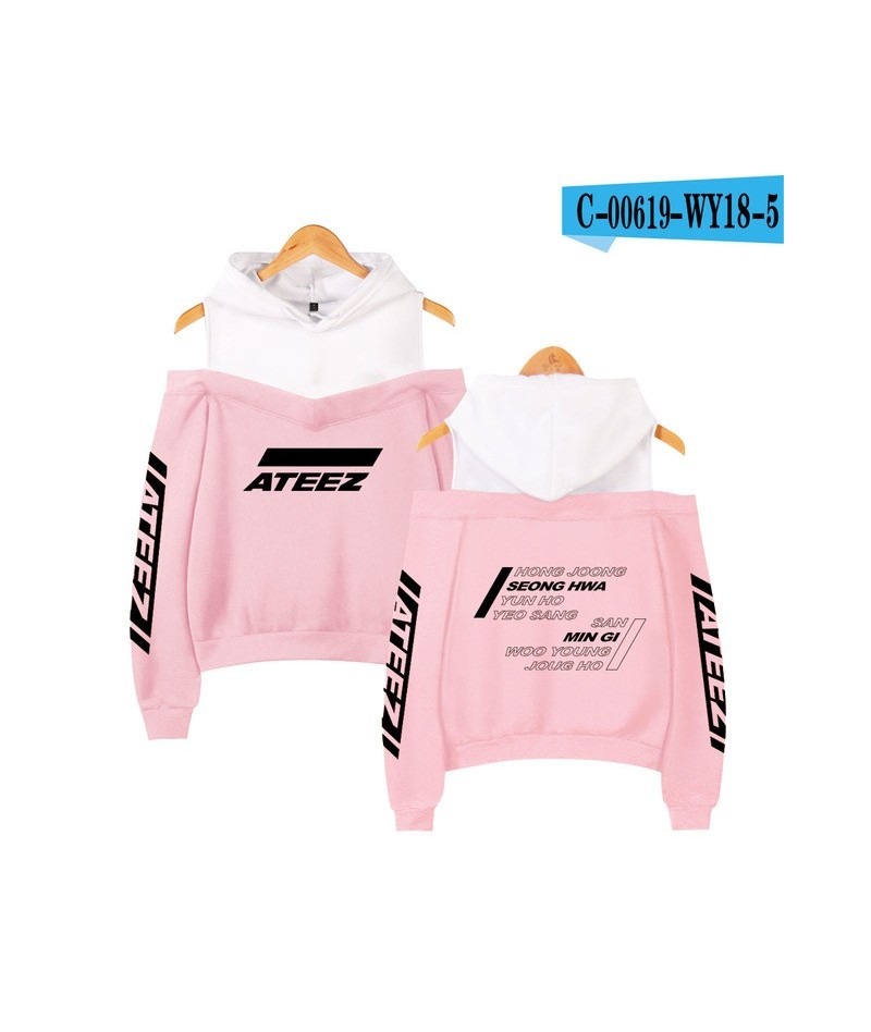 ATEEZ Printed Off-Shoulder Hoodies Sweatshirts Women Sexy Exclusive 2019 New Team Women Casual autumn Hoodies Plus Size - WY...