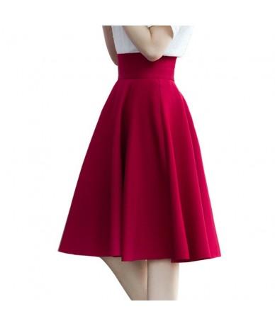 Plus Size Women Puff skirt Spring Summer Fashion High Waist Big Swing Skirt Knee-Length Empire Pleated Skirt - Wine - 4W3936...