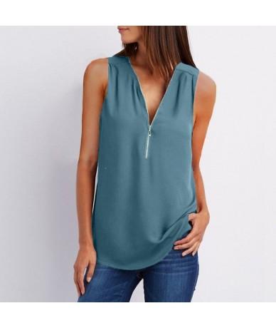 Chiffon Tank Tops Women Tunic Zipper Summer V Neck Vest Tops Sleeveless Criss-Cross Loose Solid Ladies Shirts Plus Size 5XL ...