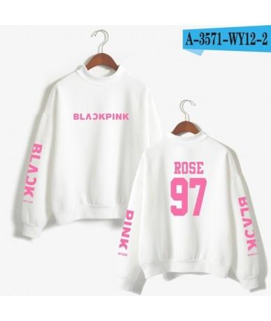 2018 BLACKPINK Girl's Group Kpop Oversize Turtlenecks Hoodies Sweatshirts Women Hoodies Loose Casual Sweatshirts - White - 4...