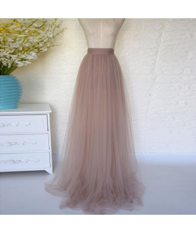 Dusty Pink 4 Layers Tulle Tutu Skirt High Quality Swiss Solf Tulle Full Length Maxi Long Skirts Womens Bridal Bridesmaid Ski...